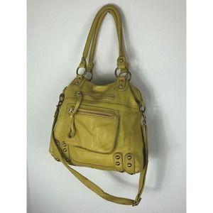 Linea Pelle Chartreuse Leather Satchel Crossbody